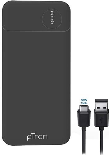 Ptron Dynamo Pro 10000Mah Power Bank 18W Fast Charge Type C Slim Design Type C Micro USB Input Ports Li Polymer Power Bank For Smartphones Other Smart Device Black
