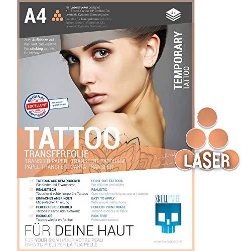 SKULLPAPER® temporäre Tattoo-Transferfolie FÜR DIE HAUT - SEHR GUT getestet - für Laserdrucker (A4-4 Blatt)