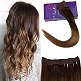 LaaVoo 18' Brun Moyen Balayage Marron Clair Ombre Blond Fonce Halo-on Extension...