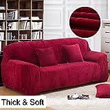 Copridivano spesso per sofà a 1/2/3/4 posti, colorato, in tessuto elasticizzato vellutato per un'aderenza perfetta e facile, Wine Red, 3 Seater:195-230cm