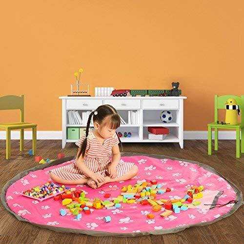 Youth Union Tapis de jeu rond pour enfant, Sac de rangement pour jouets, Idéal pour...