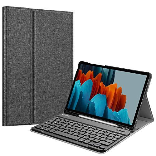 Fintie Tastatur Hülle für Samsung Galaxy Tab S7 11 Zoll 2020 SM-T870 / SM-T875 Tablet-PC, Ultradünn leicht Schutzhülle mit magnetisch Abnehmbarer drahtloser Deutscher Bluetooth Tastatur, Dunkelgrau