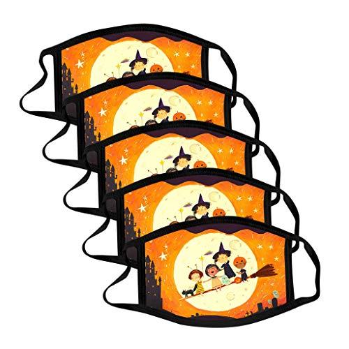 eiuEQIU 5PCS Halloween Mundschutz aus Baumwolle,Bandanas Lustige 3D Drucken, Sport Schlauch Sommer Earloop-Schal Men Women Print Wiederverwendbare atmungsaktive Schutz