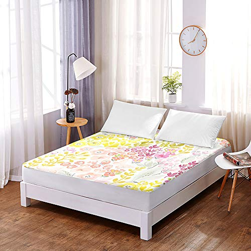 Microfibre Fitted Sheet Extra Deep 30 cm, Morbuy Elegant print Suitable for Single Double King Size, Only Bedsheet No Pillowcases (140 * 200 * 30cm,C)