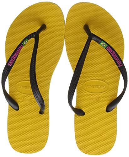 Sandalias Havaianas amarillas Slim Brasil con Logo