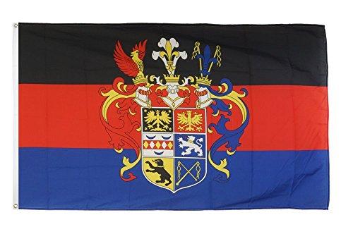 Fahne / Flagge Deutschland Ostfriesland mit Prachtwappen + gratis Sticker, Flaggenfritze®
