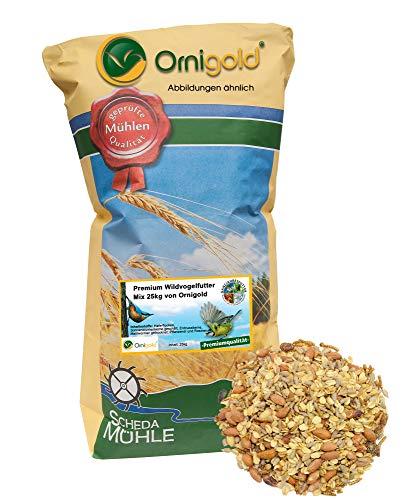 Ornigold Premium Wildvogelfutter Mix 25 kg schalenfreie Vogelfutter mit Insekten für Wildvögel: Sonnenblumenkerne, Haferflocken, Erdnusskerne, Mehlwürmer, Rosinen, Pflanzenöl