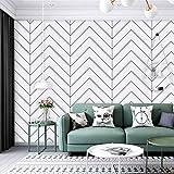 Wood Geometric Stripe Peel and Stick Wallpaper Shiplap White/Black Self-Adhesive Removable Wallpaper,Decorative Waterproof Shelf Liner,Home Decaration 17.7''x118.1''