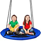 Dripex Nest Swing Children's Swing Tree Swing Seat Round swing for Outdoor Backyard Garden, Oxford, Blue, Up to 150 kg, 100 CM