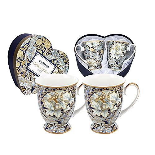 CARMANI Juego de 2 tazas de porcelana para café o té William Morris