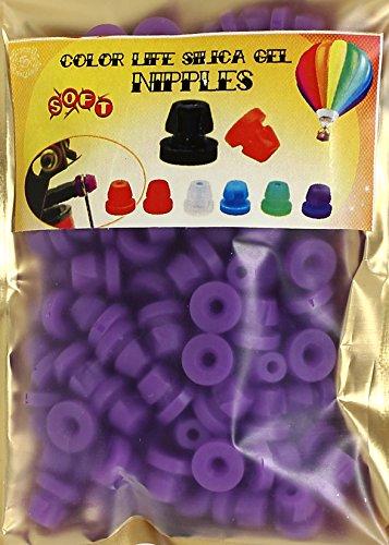100 élastiques en silicone pour barre à aiguille - Forme : H - Système de verrouillage - Pochette avec fermeture à pression - Couleur : violet