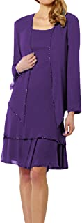 Women's Sexy Short Tiered Chiffon Mother The Bride Dress Jacket