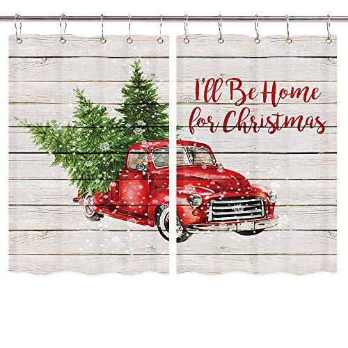Christmas Red Retro Truck Kitchen Window Curtains, Vintage Car with Xmas Tree in Snowy Winter on Rustic Wooden Curtains Panels, Kitchen Decorations Window Drapes for Window Treatment, 55X39Inches