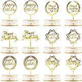 6 Styles: the package contains 12 pieces happy birthday cupcake toppers in 6 styles, coming with a gold side and a silver side, sufficient quantity and various style for you to decorate your cake, make your cake more attractive, also add great flavor...