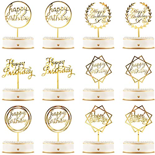 Queekay 12 Pieces Happy Birthday Cake Topper Acrylic Gold Birthday Cupcake Topper Cake Pick Decorations for Birthday Party Cake Desserts Pastries, 6 Styles