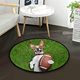 N\A Tapis de Sol Soccer Dog Holding Rugby Ball Laughing Rugs Tapis de Sol pour Salon Rond 3 Pieds antidérapant pour Chambre à Coucher Salon étude