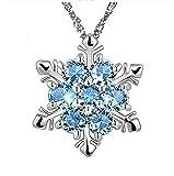 Collana con Ciondolo Fiocco di Neve e cristalli azzurri Argento Gioiello Idea Regalo Festa Compleanno Bambina Ragazza