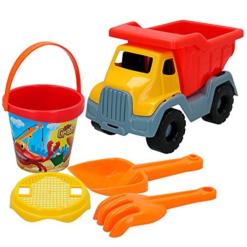 ColorBaby - Juguetes de playa para niños, Set playa, Mr Craby, camión, cubo playa, Ø14 cm, , cedazo, pala, rastrillo, + 18 meses, Juguetes playa arena, COLORBABY (24968)