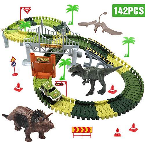Dookey Circuito de Coches, Pista de Carreras Juguetes, Pista Coches Flexible, Tema Mundo Dinosaurio Jurásico, 142 Pistas Flexibles, 1 Vehículo Militar, 3 Dinosaurio, 1Destornillador, etc..