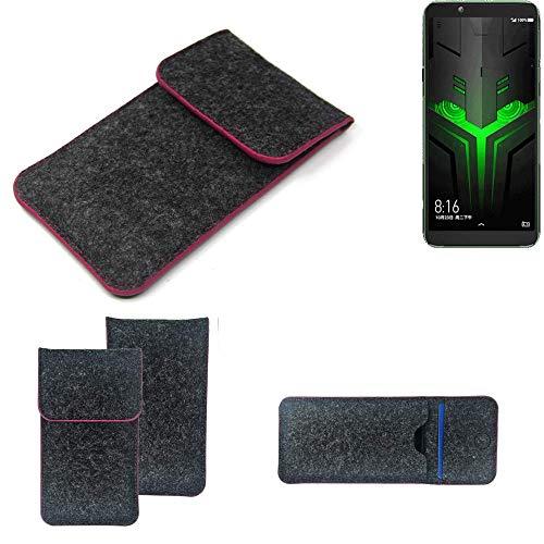 K-S-Trade Filz Schutz Hülle Für Xiaomi Blackshark Helo Schutzhülle Filztasche Pouch Tasche Hülle Sleeve Handyhülle Filzhülle Dunkelgrau Rosa Rand