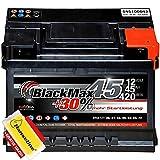 BlackMax Autobatterie 12V 45Ah Starterbatterie ersetzt 40Ah 44Ah 47Ah inklusive Polfett