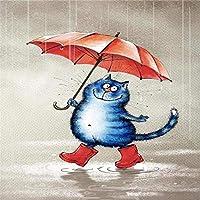 KGLGCY DIYデジタル油絵雨具付きの青い猫数字油絵子供大人初心者40cmX50cmズ ホームインテリア