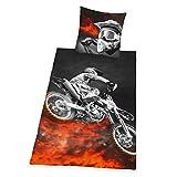 Herding YOUNG COLLECTION Parure de Lit Réversible, Motocross, Housse de Couette 135 x 200 cm, Taie d'Oreiller 80 x 80 cm, Polyester