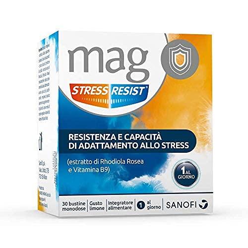 Mag Stress Resist Integratore Alimentare contro Stress e Stanchezza Mentale a Base di Rhodiola Rosea, Magnesio, Vitamina B9 e B6, 30 Bustine Monodose