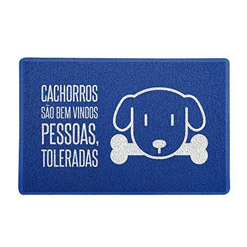 Capacho/Tapete 60x40cm - Cachorros São Bem Vindos Azul