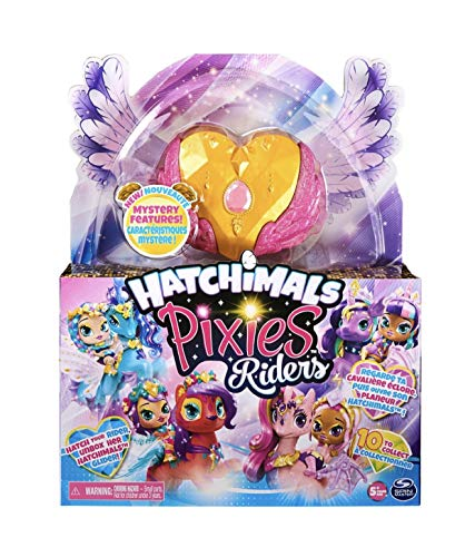 Hatchimal Pixies Riders, Gold Shimmer Charlotte Pixie & Draggle Glider Set with Mystery Feature