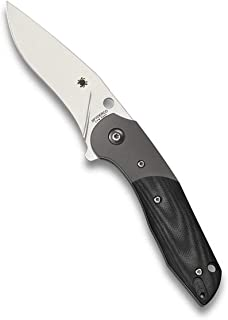 Spyderco Hanan Folding Knife - Black G-10 Handle with PlainEdge, Full-Flat Grind, CPM S30V Steel Blade and Compression Lock - C227GP