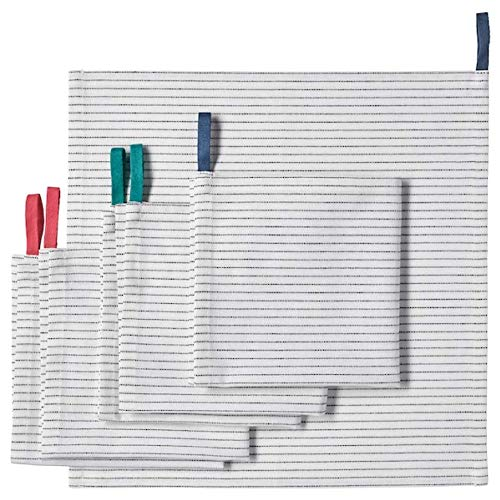 IKEA 503.577.28 Serviette Gruppera weiß schwarz 13 x 13