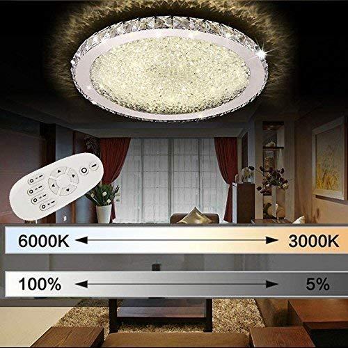 ETiME Kristall Deckenleuchte Dimmbar LED 24W Deckenlampe mit Fernbedienung Ø32cm Rund 2700K-6500K Wohnzimmer Schlafzimmer Esszimmer Lampe dimmbar (24W Ø32cm Dimmbar)