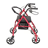 SSLine Portable Folding 4-Wheel Walker with Padded Seat Mobility Walkers for Seniors Adult Height Adjustable Travel Walker w/Storage Bag Wheeled Rolling Walkers - 286LBS Capacity