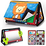 teytoy Tummy Time Floor Mirror with Crinkle Cloth Book and Teethers, High Contrast Black and White Baby Toys, Developmental Montessori Sensory Crawling Toy for Newborn Infant Toddler 0 3 6 Months