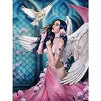 ENCHYS Diy 5Dフルダイヤモンドビーズアート天使と平和の鳩セットツール刺繍キット絵画四角大きいクロスステッチ手作りキット手芸大人初心者あーと c2205