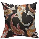 Funda de almohada de acuarela japonesa de peces carpa Koi sin costuras patrón decorativo cuadrado para el hogar, dormitorio, sala de estar, funda de cojín 45 x 45 cm