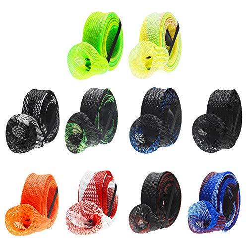 ZZBIQS 10 Stück Angelruten-Hülsen, geflochtene Netzrutensocken zum Schutz der Angelrute (zufällige Farbe).