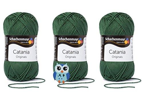 Schachenmayr Catania Wolle 3x50 Gr, 100% Baumwolle + 1 Eulen Knopf (Farbreihe 400-499) (419 Tannenbaum)