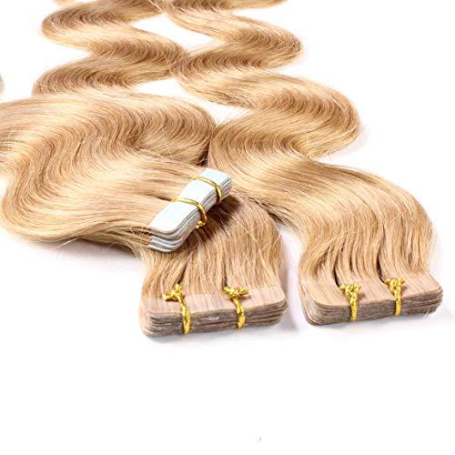 Hair2heart Tape-in haarextensies van echt haar, gegolfd, 10 x 2,5 g 40cm #12 Honing blond