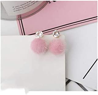 Ejvfudji One Direction Temperament Short Paragraph Earrings Personality Wild Simple Brown Hair Ball WOM Bijoux Boucle D'oreille