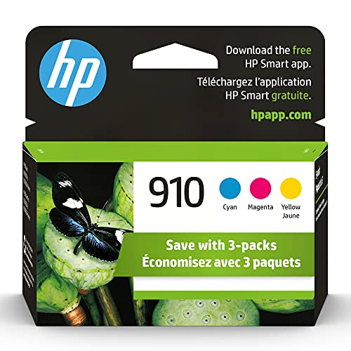 Original HP 910 Cyan, Magenta, Yellow Ink Cartridges (3-pack)   Works with HP OfficeJet 8010, 8020 Series, HP OfficeJet Pro 8020, 8030 Series   Eligible for Instant Ink   3YN97AN