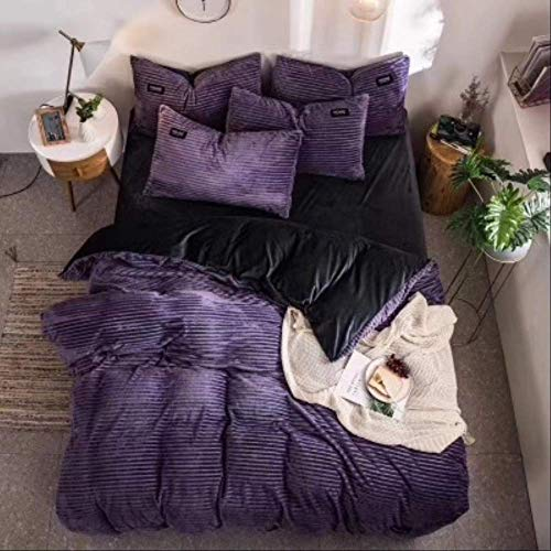 N/D 4pcs Bedding Sets Quilt Cover Bed Sheet Pillow Cover Comforter Thickened Pure Color Double Faced Cover Down Feather Duvet 200x200cm Purple