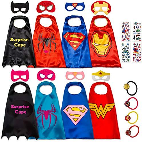 Costumi da Supereroi per Bambini - Regali di Compleanno - Costumi di Carnevale - 8 Mantelli e Maschere - Logo Visibile al Buio - Giocattoli per Bambini e Bambine