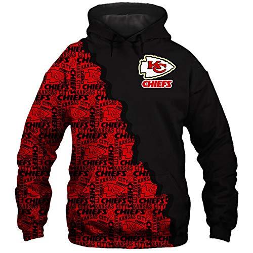 HS-HWH316 American Football Kansas City Chiefs New Hoodie Gedruckt Pullover Atmungsaktiv Anti-Pilling Soft-Casual Wear Training Bekleidung Super Bowl Fans Geschenk,S