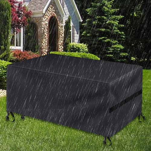 Garden Furniture Covers,Patio Furniture Covers Waterproof,Rectangular Rattan Sofa Cover 600D Heavy Duty Rip Proof Garden Table Cover Protective Covers for Table Chair Outdoor (Black, 180x120x74CM)