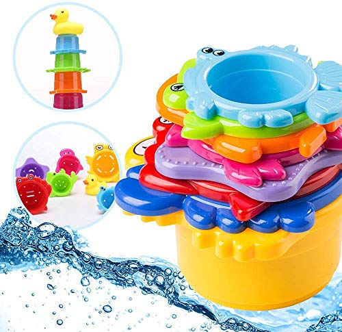 OleOletOy Kinder Badewannenspielzeug Set - 8X Stapelbecher mit Einer Badeente | 2 in 1: Wasser/Sand Abfliessen, Becher Stapeln | Spielzeug für Baby - Badespielzeug Sandspielzeug