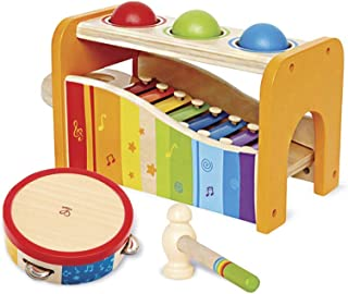 Hape Music Toys for Toddlers - Award Winning Wooden Pound & Tap Bench with Slide Out Xylophone and Tap Along Tambourine - ...