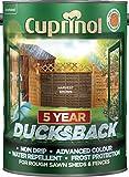 Cuprinol 5 Year Ducksback 5 L Harvest Brown - Tintes para maderas de exterior (En vallas y cercados, Shed, 5 L, 5 m²/L, Harvest Brown, Al agua, Translúcido)