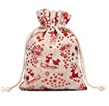 KUPOO 30PCS Drawstring Bags Burlap Flower Pouch Bags Gift Bags Jewelry Pouches for Christmas DIY Craft Wedding Party, 3.9X5.3 Inches (Santa Claus)